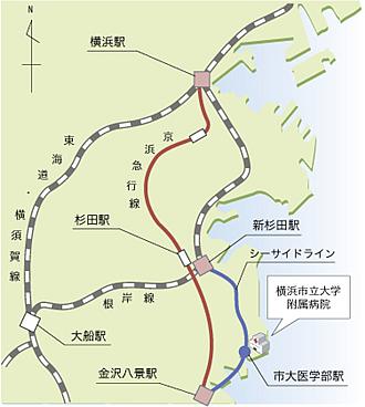 電車で来院する場合の地図